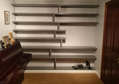 contemporary wooden painted wall mounted shelving